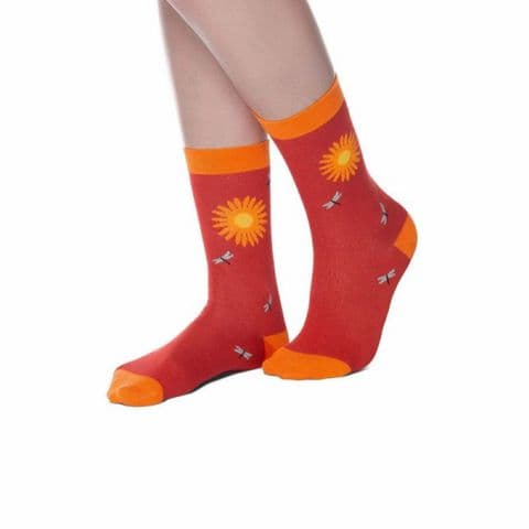 Red Yellow Sunflower & Dragonfly Bamboo Socks